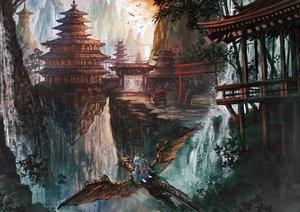 Rating: Safe Score: 75 Tags: akamidoriao_(rgb) building dragon landscape original scenic torii User: Flandre93