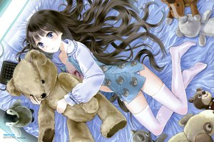 Rating: Safe Score: 70 Tags: animal bear bed blue_eyes brown_hair kamisama_no_memo_chou kishida_mel long_hair scan shionji_yuuko thighhighs User: Katsumi
