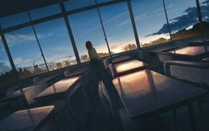 Rating: Safe Score: 131 Tags: black_hair clouds gensuke original pantyhose scenic school_uniform short_hair skirt sky sunset User: RyuZU