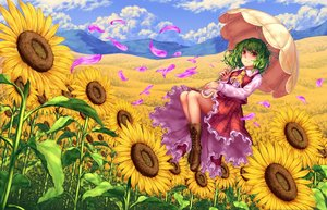 Rating: Safe Score: 53 Tags: boots clouds dress flowers green_hair kazami_yuuka landscape petals red_eyes scenic sunflower teiraa touhou umbrella User: Flandre93