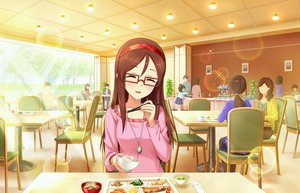 Rating: Safe Score: 29 Tags: annin_doufu brown_hair drink food furusawa_yoriko glasses headband idolmaster idolmaster_cinderella_girls idolmaster_cinderella_girls_starlight_stage long_hair necklace User: luckyluna