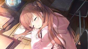Rating: Safe Score: 104 Tags: blush book brown_hair game_cg himeno_sena hoodie kimishima_ao koi_x_shin_ai_kanojo long_hair sleeping us:track User: mattiasc02