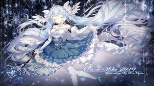 Rating: Safe Score: 59 Tags: blue_hair dress hatsune_miku lengchan_(fu626878068) long_hair staff thighhighs tiara twintails vocaloid watermark yuki_miku User: RyuZU
