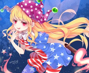 Rating: Safe Score: 47 Tags: blonde_hair chikuwa_savi clownpiece dress fairy fire hat long_hair red_eyes signed stars touhou wings User: otaku_emmy