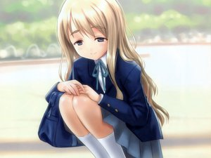 Rating: Safe Score: 80 Tags: blonde_hair blue_eyes goto_p k-on! kneehighs kotobuki_tsumugi long_hair seifuku User: meccrain