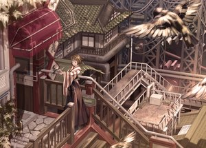 Rating: Safe Score: 53 Tags: aliasing animal bird building japanese_clothes miko miya-ki_(miya_key) scenic stairs User: Kiho