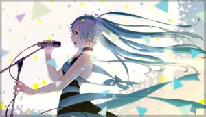Rating: Safe Score: 40 Tags: aliasing blue_hair bow dress green_eyes hatsune_miku long_hair microphone ribbons twintails vocaloid yamamoto_makuya User: RyuZU
