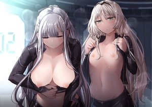 Rating: Questionable Score: 145 Tags: 2girls ak12_(girls_frontline) an94_(girls_frontline) anthropomorphism blonde_hair bow braids breasts flat_chest girls_frontline gray_hair green_eyes headband long_hair mishima_hiroji navel nipples no_bra open_shirt ponytail undressing wet User: otaku_emmy