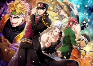 Rating: Safe Score: 13 Tags: aliasing all_male animal aqua_eyes black_hair blonde_hair brown_hair chain dio_brando dog fang gloves gray_hair hat headband iggy_(jojo) jean_pierre_polnareff jojo_no_kimyou_na_bouken joseph_joestar kakyouin_noriaki kuujou_joutarou male muhammad_avdol orange_eyes red_eyes red_hair tagme_(artist) wink wristwear User: otaku_emmy