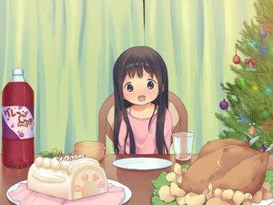 Rating: Safe Score: 72 Tags: anyannko brown_eyes brown_hair cake christmas drink food loli original User: Shupa