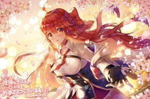 Rating: Safe Score: 57 Tags: applecaramel_(acaramel) bow breast_hold cherry_blossoms collar corset flowers gloves hoodie long_hair petals red_eyes red_hair shirt skirt sunset thighhighs tie zettai_ryouiki User: otaku_emmy