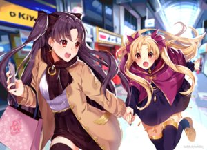 Rating: Safe Score: 43 Tags: blonde_hair blush bow brown_hair ereshkigal_(fate/grand_order) fate/grand_order fate_(series) ishtar_(fate/grand_order) long_hair orange_eyes phone red_eyes scarf skirt thighhighs twintails watermark yuniiho zettai_ryouiki User: mattiasc02