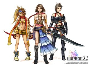 Rating: Safe Score: 51 Tags: bikini blonde_hair blue_eyes boots breasts brown_hair cleavage final_fantasy final_fantasy_x final_fantasy_x-2 gray_hair green_eyes gun long_hair paine red_eyes rikku scarf short_hair swimsuit sword thighhighs weapon white yuna_(ffx) User: Umbra