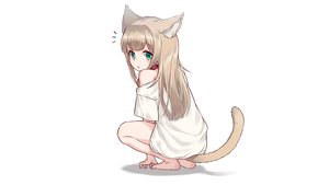 Rating: Safe Score: 45 Tags: 40hara animal_ears brown_hair catgirl choker green_eyes kinako_(40hara) loli original white User: gnarf1975