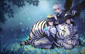 Rating: Safe Score: 33 Tags: animal aruruw black_hair blue_eyes blue_hair butterfly camus flowers grass leaves long_hair masin0201 short_hair signed tiger utawarerumono white_hair wings yuzuha User: BattlequeenYume