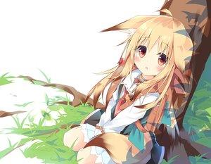 Rating: Safe Score: 57 Tags: animal_ears blonde_hair blush dress foxgirl grass kushida_you loli long_hair original red_eyes tail tree User: luckyluna