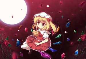 Rating: Safe Score: 18 Tags: blonde_hair fang flandre_scarlet hat moon night ponytail red_eyes short_hair thighhighs touhou vampire wings User: gnarf1975