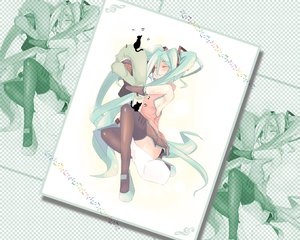 Rating: Safe Score: 39 Tags: animal cat hatsune_miku leek thighhighs vocaloid User: rargy