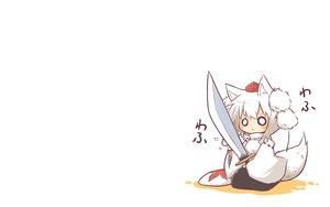 Rating: Safe Score: 80 Tags: animal_ears chibi hat inubashiri_momiji sword tail touhou viva!! weapon wolfgirl User: SciFi