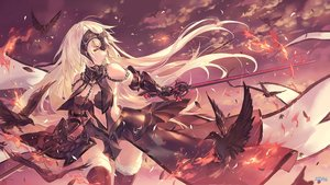 Rating: Safe Score: 72 Tags: animal atdan bird blonde_hair blush chain clouds fate/grand_order fate_(series) headdress jeanne_d'arc_alter jeanne_d'arc_(fate) jpeg_artifacts long_hair navel signed sky sword thighhighs weapon yellow_eyes User: RyuZU