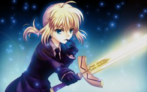 Rating: Safe Score: 79 Tags: artoria_pendragon_(all) blonde_hair blue_eyes daffobird fate_(series) fate/stay_night fate/zero gloves saber short_hair suit sword weapon User: opai