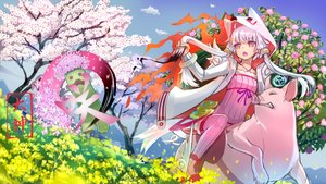 Rating: Safe Score: 92 Tags: animal cape cherry_blossoms creeper flowers grass hoodie long_hair minecraft okami pink_eyes purple_hair rose tree twintails vocaloid watermark yuzuki_yukari User: humanpinka