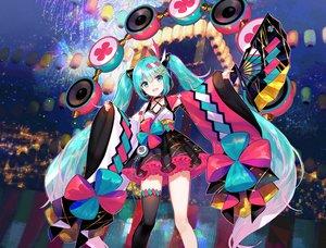 Rating: Safe Score: 77 Tags: aqua_eyes aqua_hair choker cropped drums fan festival fireworks fuji_choko hatsune_miku instrument japanese_clothes long_hair magical_mirai_(vocaloid) skirt thighhighs twintails vocaloid waifu2x zettai_ryouiki User: otaku_emmy