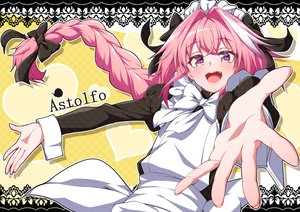 Rating: Safe Score: 31 Tags: all_male apron astolfo bow braids fang fate/grand_order fate_(series) headdress long_hair maid male pink_eyes pink_hair ponytail ribbons takatun223 trap User: otaku_emmy