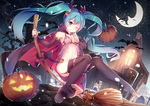 Rating: Safe Score: 400 Tags: animal aqua_eyes aqua_hair bat blush breasts cape halloween hatsune_miku long_hair moon night pumpkin stars tail twintails vocaloid wink yan_(nicknikg) User: RyuZU