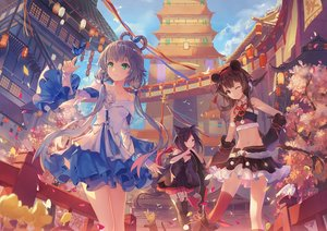 Rating: Safe Score: 61 Tags: animal animal_ears bird black_hair boots bow brown_hair building butterfly cat catgirl city clouds criin_(659503) dress garter_belt gray_hair green_eyes long_hair luo_tianyi petals red_eyes scarf skirt sky tagme_(character) tail thighhighs twintails vocaloid wink yuezheng_ling User: RyuZU