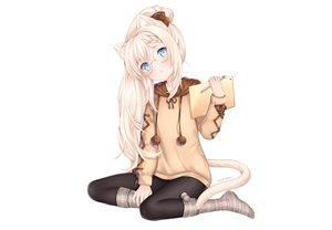 Rating: Safe Score: 97 Tags: aqua_eyes blonde_hair blush book bow braids catgirl glasses hoodie kneehighs long_hair nami_(nyaa) original socks tail watermark white User: otaku_emmy