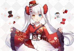 Rating: Safe Score: 80 Tags: bicolored_eyes blush chibi dress drink hat japanese_clothes kagura_mea kagura_mea_channel lolita_fashion long_hair momoshiki_tsubaki teddy_bear white_hair User: BattlequeenYume