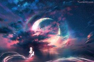 Rating: Safe Score: 97 Tags: animal clouds dog loli moon night original polychromatic short_hair sky stars water wenqing_yan_(yuumei_art) User: BattlequeenYume
