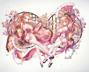 Rating: Questionable Score: 97 Tags: 2girls blonde_hair blush cherry_blossoms dk_senie elbow_gloves fan flowers gloves jpeg_artifacts long_hair original panties ponytail thighhighs underwear User: BattlequeenYume
