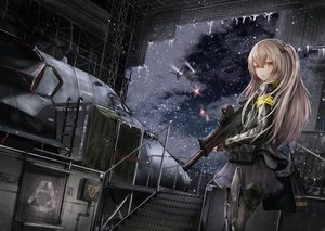 Rating: Safe Score: 42 Tags: aircraft anthropomorphism brown_hair girls_frontline gloves gun long_hair pantyhose scar shumeia snow ump-45_(girls_frontline) weapon yellow_eyes User: Nepcoheart