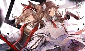 Rating: Safe Score: 48 Tags: 2girls angelina_(arknights) animal_ears arknights brown_eyes brown_hair eyjafjalla_(arknights) horns logo long_hair shirt staff twintails xiao_chichi User: Nepcoheart