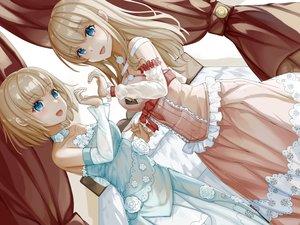 Rating: Safe Score: 70 Tags: 2girls blonde_hair blue_eyes blush dress long_hair original short_hair tagme_(artist) twins User: BattlequeenYume
