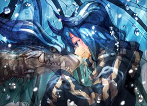 Rating: Safe Score: 114 Tags: blue_eyes blue_hair bubbles dragon horns monkymonky original User: FormX