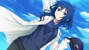 Rating: Safe Score: 109 Tags: akabeisoft3 blue_eyes blue_hair clouds game_cg nojiri_tokako ponytail sorairo_innocent unasaka_ryou User: mattiasc02