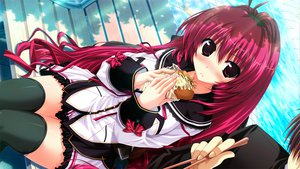 Rating: Safe Score: 119 Tags: blush clochette food game_cg kamikaze_explorer long_hair oshiki_hitoshi red_eyes red_hair school_uniform thighhighs yuutenji_mishio User: Wiresetc