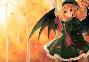Rating: Safe Score: 80 Tags: animal autumn bird green_eyes hat orange_hair original pantyhose scan short_hair twintails wings yashiro_seika User: Nepcoheart