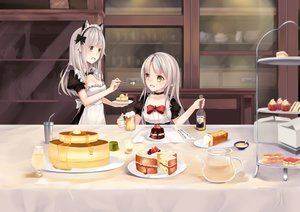 Rating: Safe Score: 41 Tags: 2girls animal_ears apron bow breasts cake chocolate cleavage drink food fruit gray_eyes headband headdress karin_(fineyanny) long_hair original pointed_ears strawberry white_hair yellow_eyes User: RyuZU