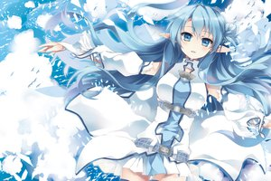 Rating: Safe Score: 171 Tags: animal bird blue_hair ceru clouds long_hair pointed_ears sky sword_art_online thighhighs yuuki_asuna User: Wiresetc