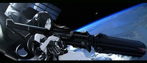 Rating: Safe Score: 34 Tags: anthropomorphism black_hair girls_frontline gun long_hair narcolepsy-1900 planet space tagme_(character) weapon yellow_eyes User: RyuZU