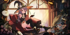 Rating: Safe Score: 93 Tags: animal_ears bodysuit bones book boots candy catgirl drink elbow_gloves food gloves halloween hat lollipop magic natori_youkai original pumpkin purple_hair skull sword tail thighhighs weapon witch witch_hat User: RyuZU