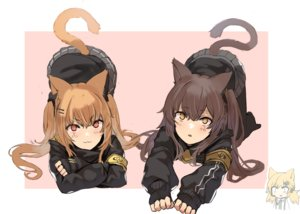 Rating: Safe Score: 68 Tags: 2girls animal_ears anthropomorphism brown_hair catgirl cat_smile ganesagi girls_frontline gloves idw_(girls_frontline) long_hair orange_hair pantyhose ponytail red_eyes school_uniform skirt tail twintails ump-45_(girls_frontline) ump-9_(girls_frontline) yellow_eyes User: otaku_emmy