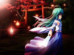 Rating: Safe Score: 37 Tags: akashio blue_eyes dress fire green_hair japanese_clothes kochiya_sanae long_hair miko night torii touhou tree User: konstargirl