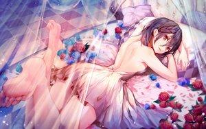 Rating: Safe Score: 84 Tags: barefoot bed braids dress flowers munseonghwa no_bra original purple_hair red_eyes rose short_hair sideboob User: BattlequeenYume