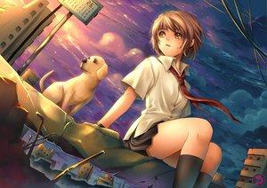 Rating: Safe Score: 106 Tags: animal brown_eyes brown_hair dog original school_uniform skirt tidsean tie User: opai