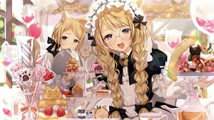 Rating: Safe Score: 32 Tags: aliasing animal animal_ears bell black_eyes blonde_hair blush bow braids cake candy cat catboy catgirl food fruit glasses gloves headband lollipop long_hair maid male original peach_punch strawberry tail twintails User: BattlequeenYume
